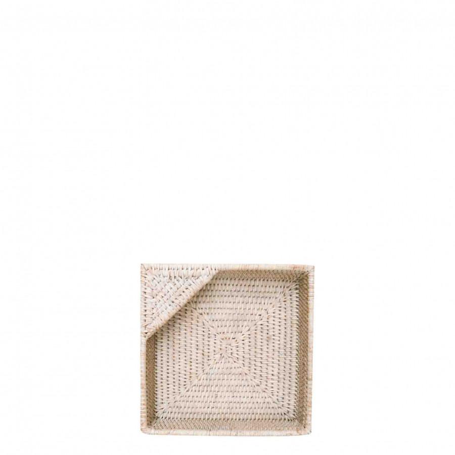 Porte-serviettes blanc en oisier