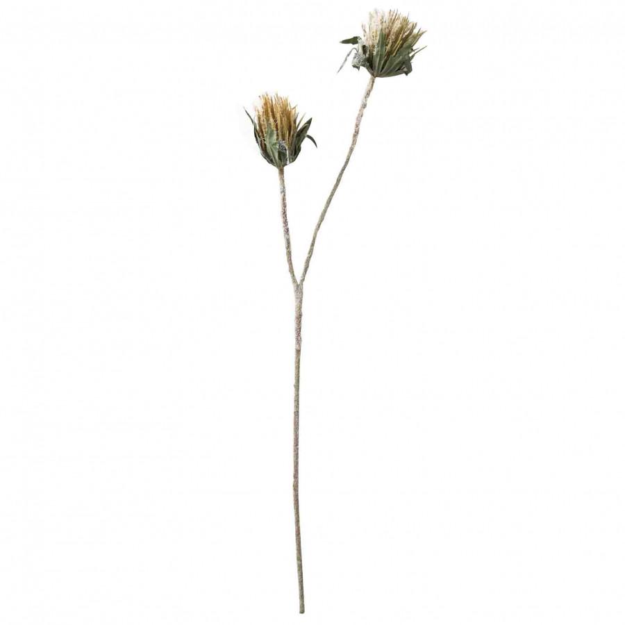 Ramo artificiale innevato 2 fiori 60 cm