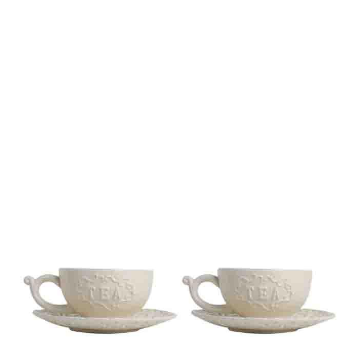 Coppia di tazze con piattino panna bordo decorato d15 cm