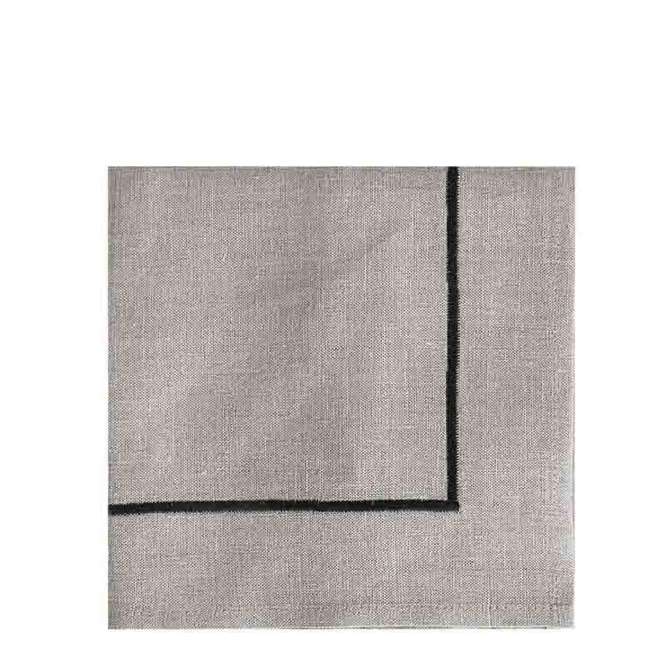 Serviette en 100%lin naturel avec cadre noir 40x40 cm