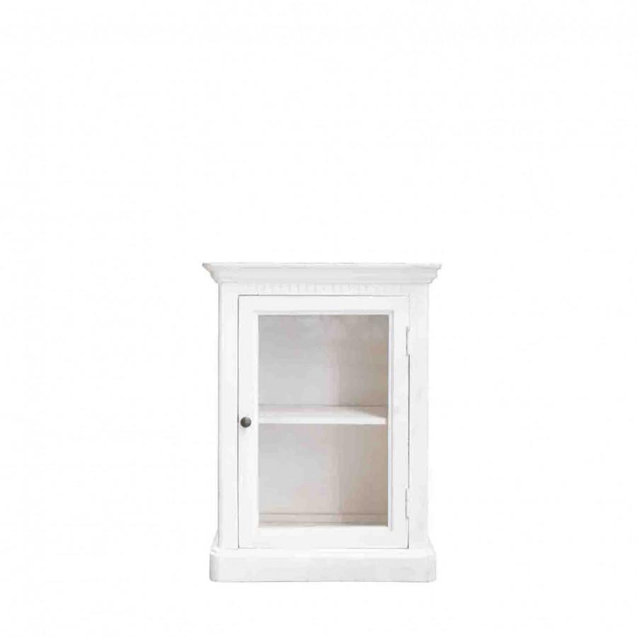 Armadietto pensile in legno panna con porta vetro 26 x 51 h68 cm