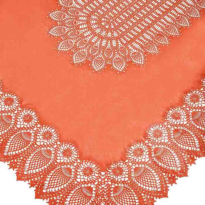 Nappe vinyle orange en dentelle impermeable 150 x 264 cm