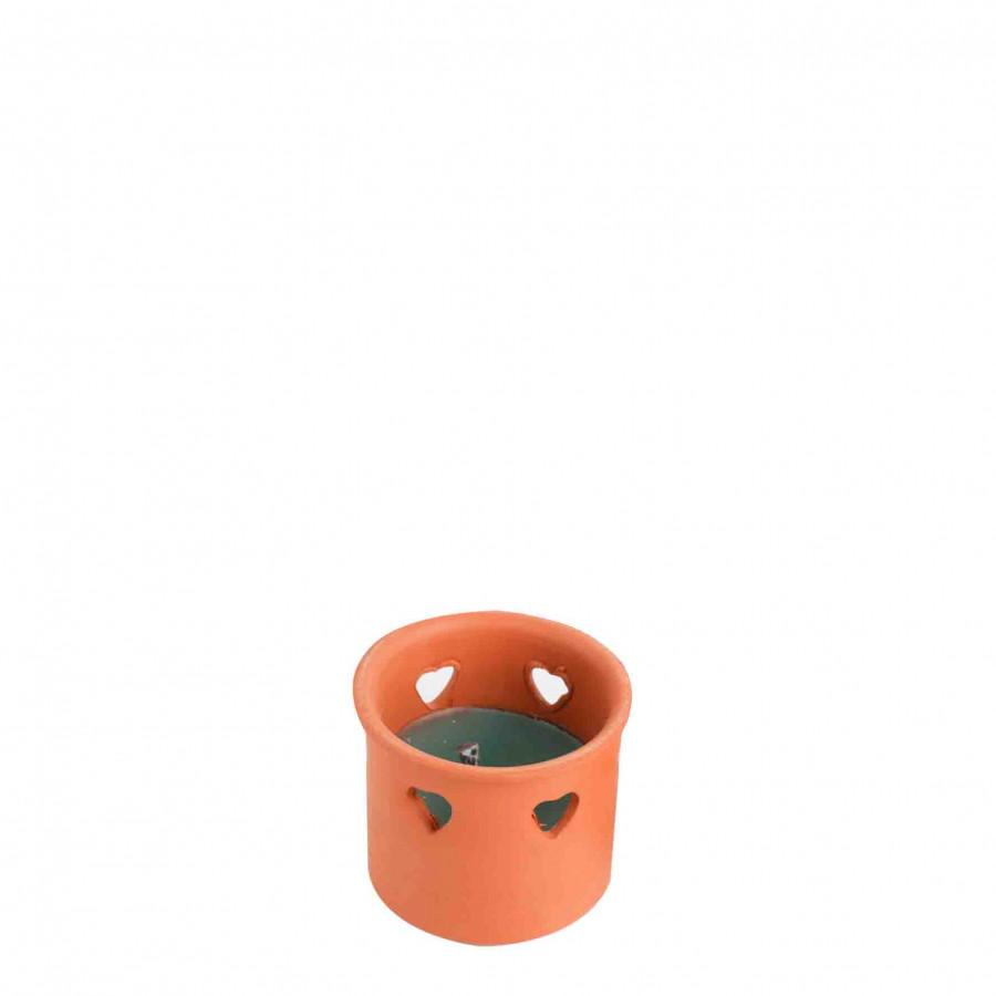 Vase bleu en terrecuite avec couers et citronelle pour exterieur d9 h8 cm