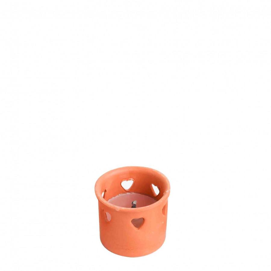 Citronella rosa in vaso di coccio con cuori d9 h8 cm