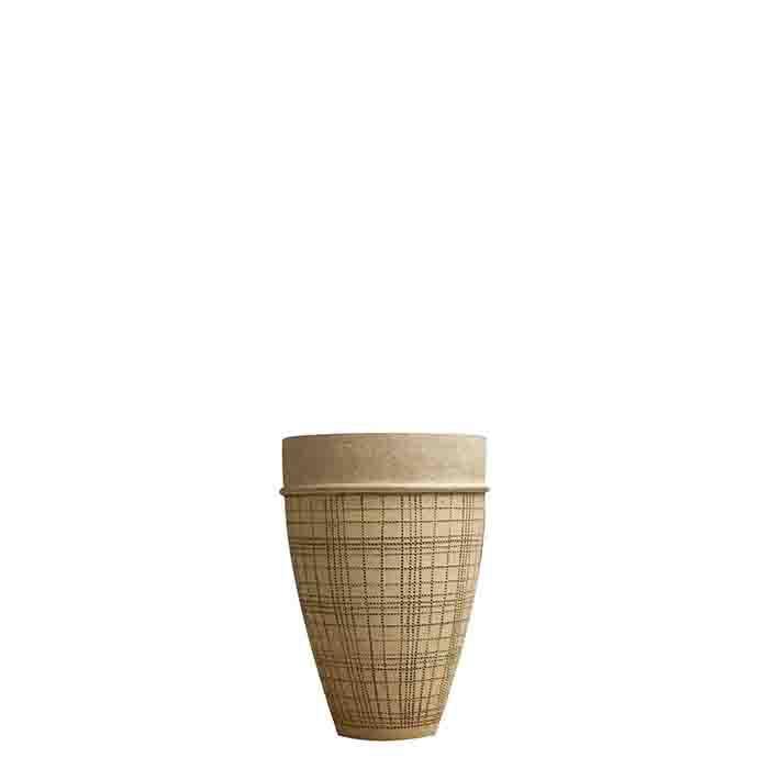 Vaso crema vintage con tratteggi irregolari neri h33 cm