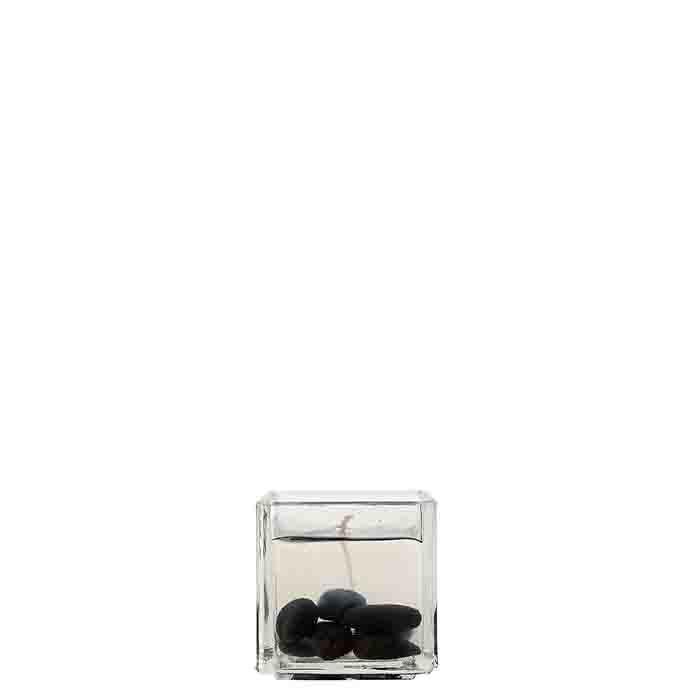 Candela gel cubo con sassi neri 7.5 x 7.5 h8 cm