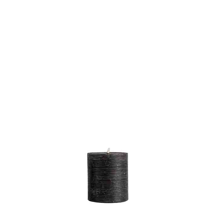 Turned black candle h8 cm