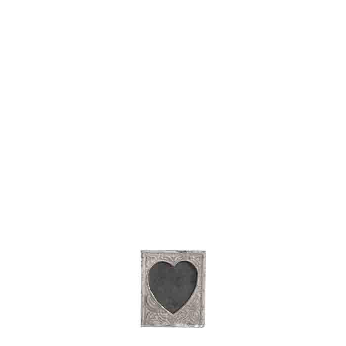 Grey cast-iron heart-shaped frame 6 cm