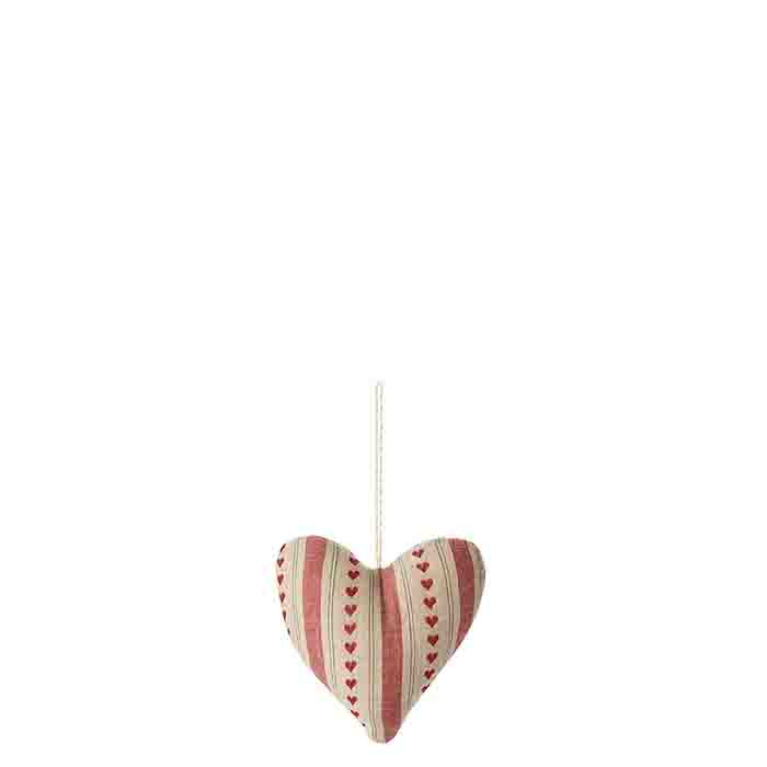 Cotton heart with vertical stripes and red small hearts h11 cm