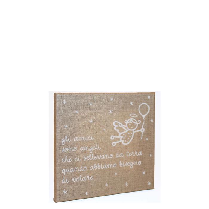 Quadro gli amici serigrafato bianco fondo lino 20 x 20 cm
