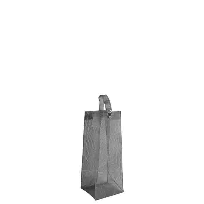 Porte-bouteille en filet de polyethylene avec crochet en metal 22x22 h68 cm