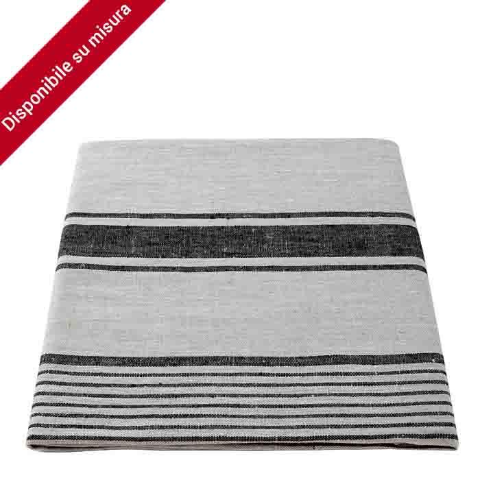 100% linen tablecloth natural colour with black large stripes 140 x 180 x cm