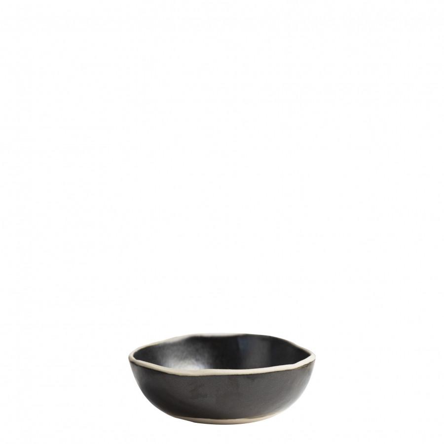 Ciotola tonda in gres nero bordo naturale d16 cm