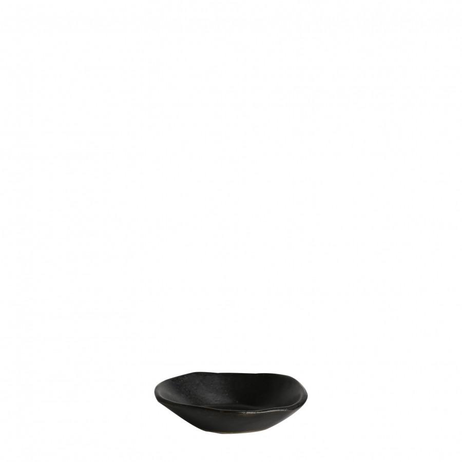 Piattino in gres bordo alto nero d9 cm