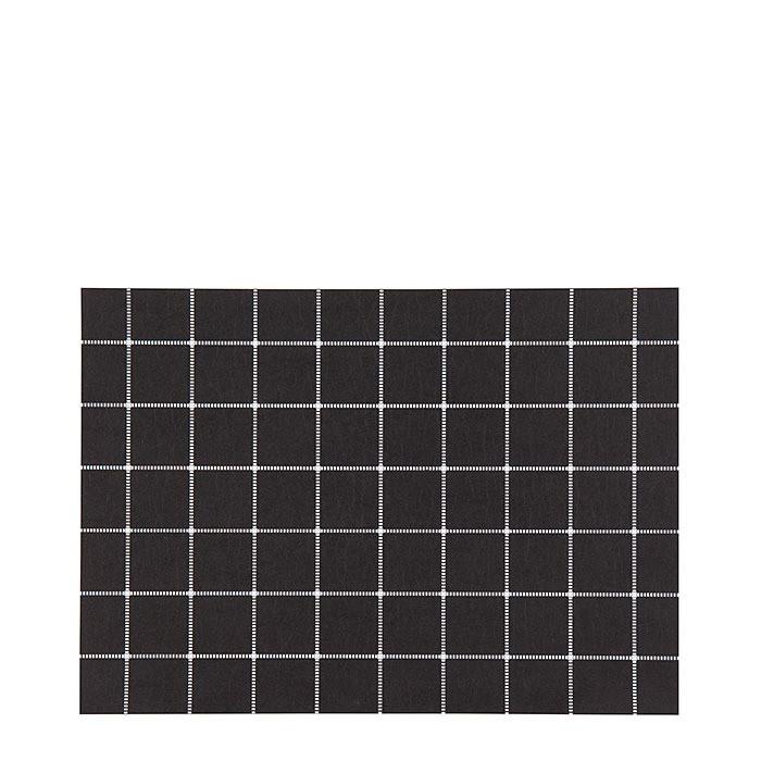Black waterproof cellulose fiber placemat with white lattice 31.5 x 47 cm