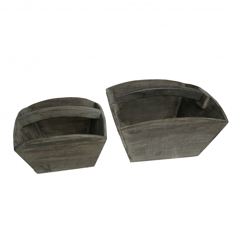 Set of 2 dark wooden baskets with curved handle