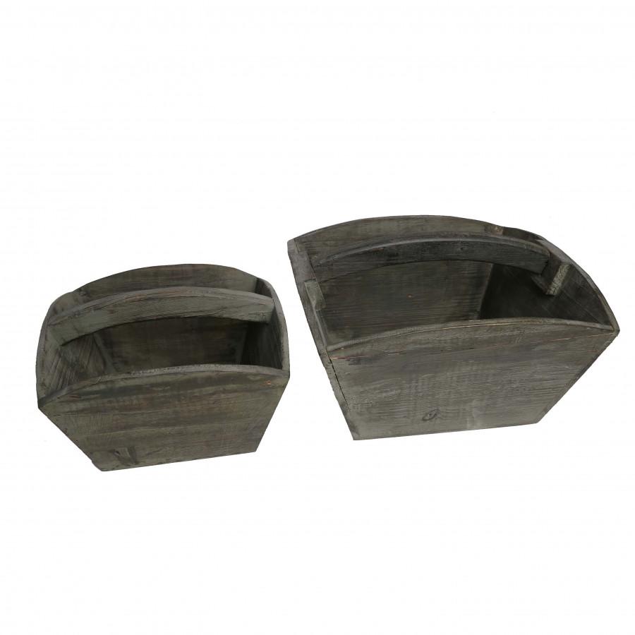 S/2 cesti legno scuro un manico curvo