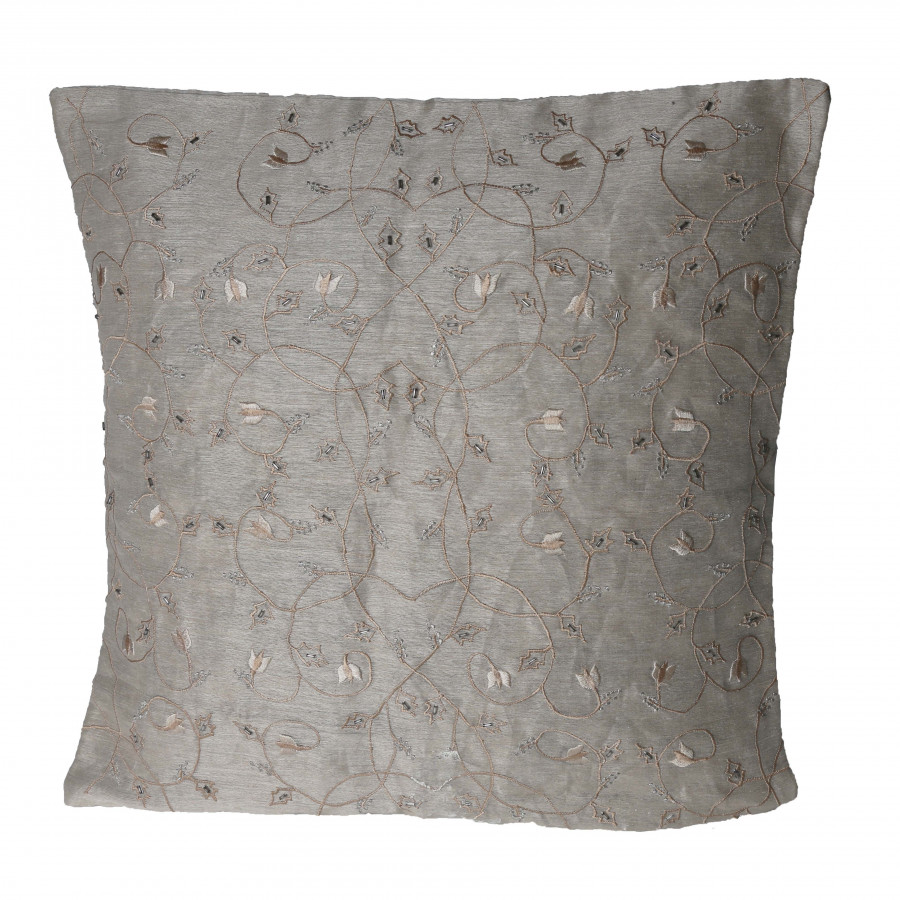 Embroidered silk pillow case with small pearls 40x40 cm