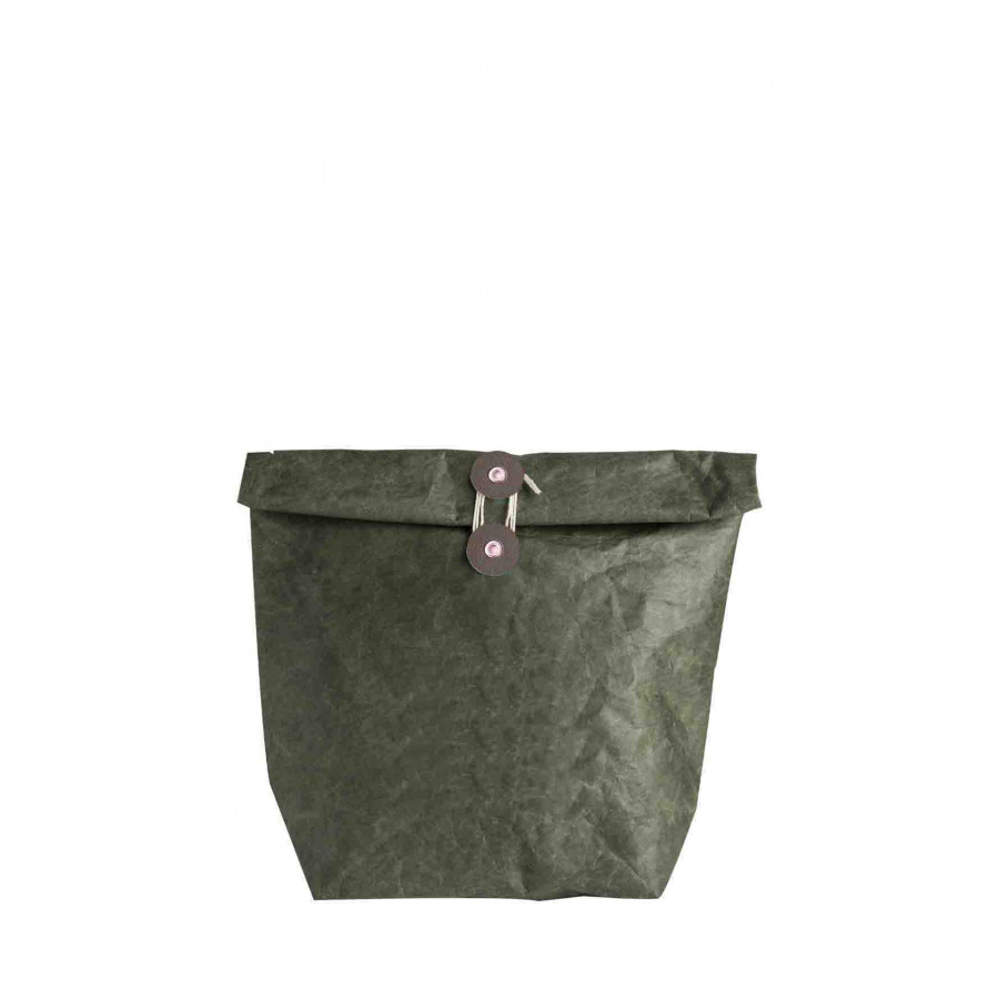 Green thermic bag with button 11x22 h40 cm