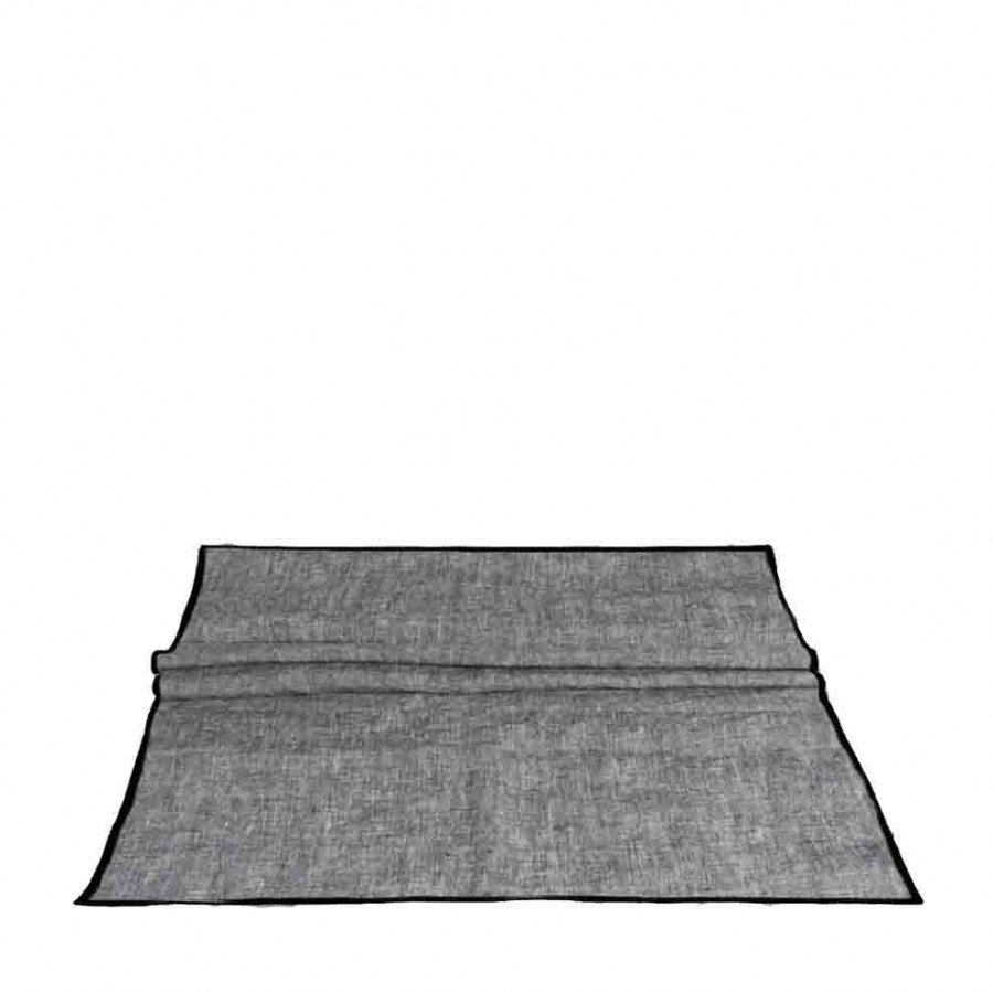 100% grey melange linen runner with black edge 50x120 cm
