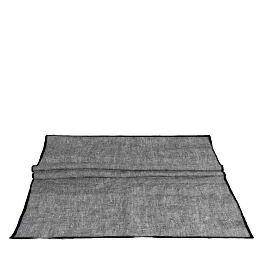 100% grey melange linen runner with black edge 50x160 cm