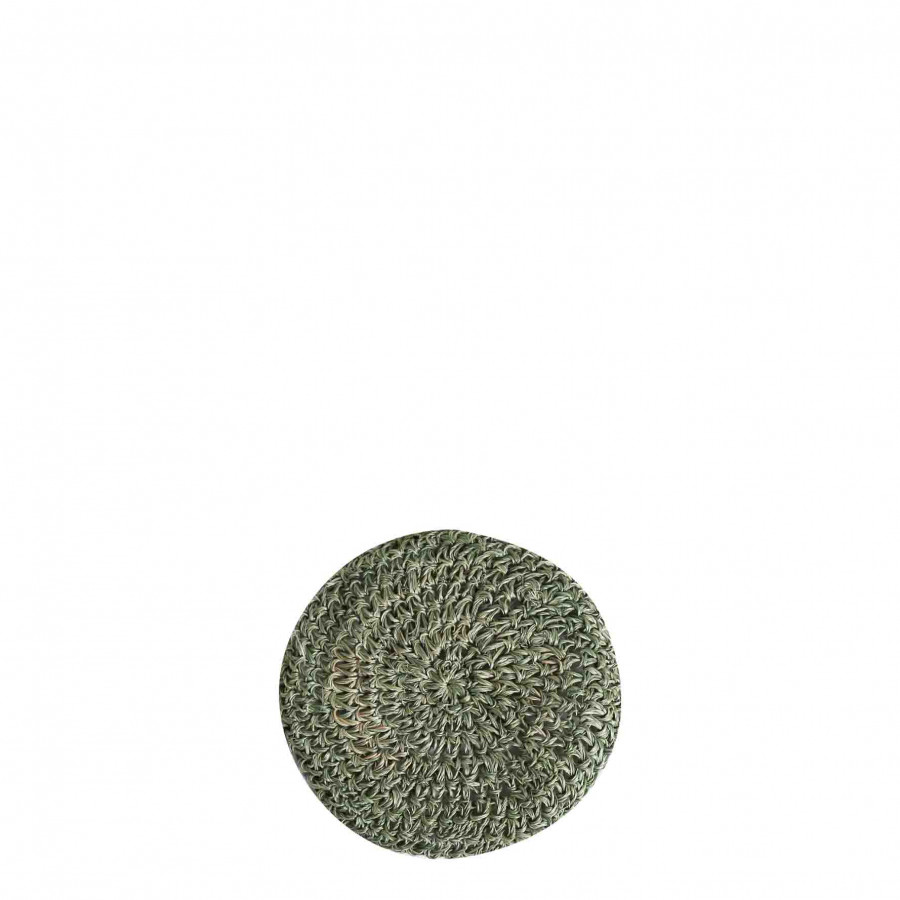 Green crochet abaca coaster d11 cm