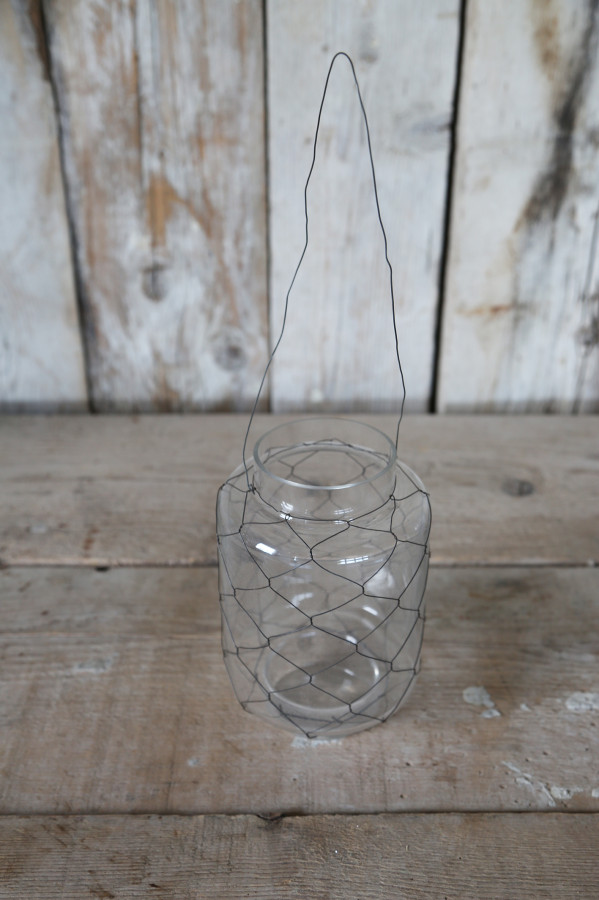 Lanterna vetro rete ferro d12 h20 cm