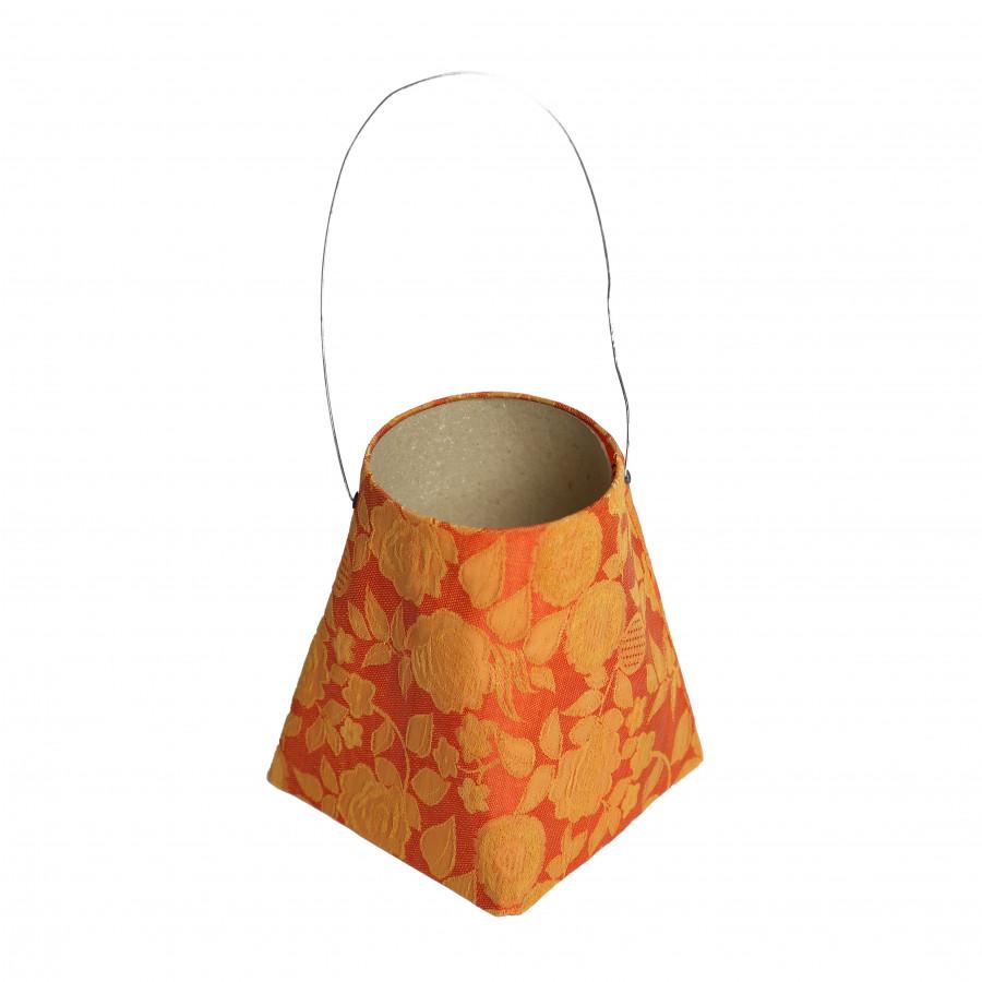 Lanterna fiorata stoffa arancio 10 x 10 h12 cm