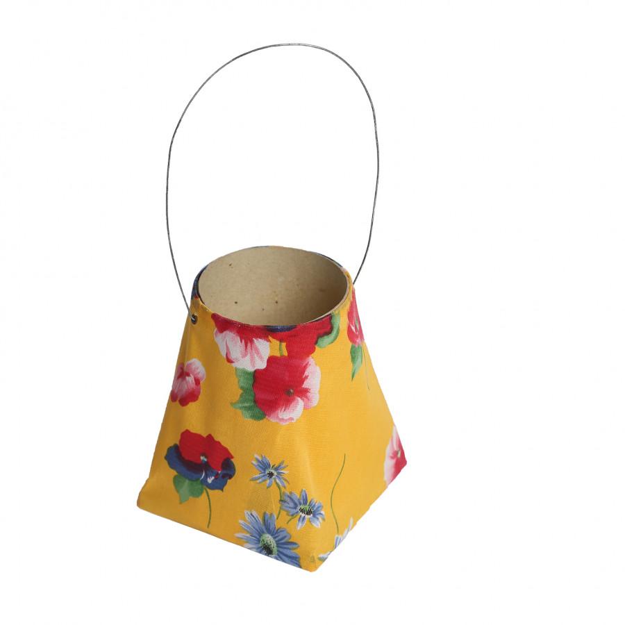 Lanterne en tissue jaune avec fleurs 10x10 h12 cm