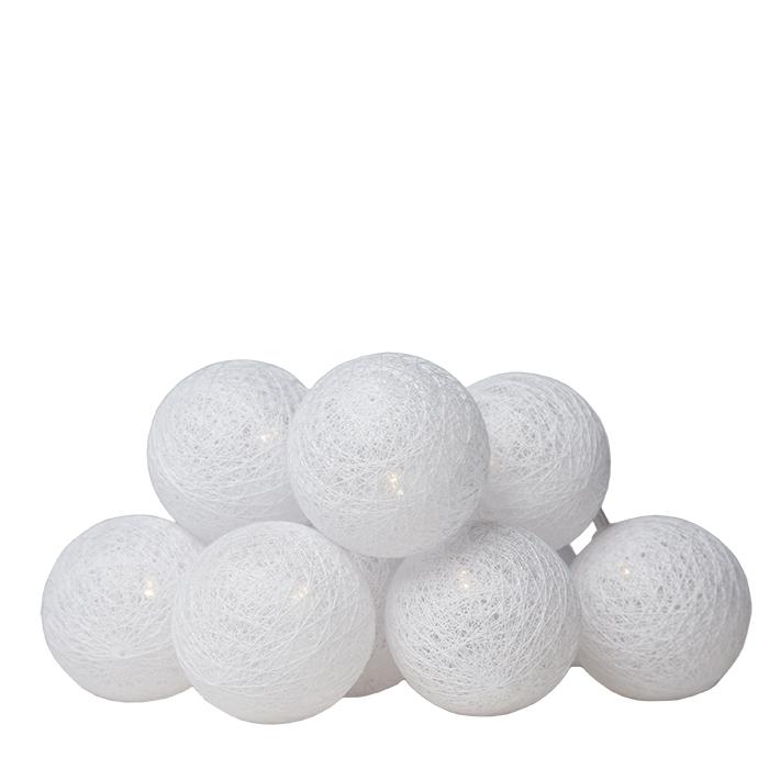 Fil de 10 boules blanches avec batterie 180 cm