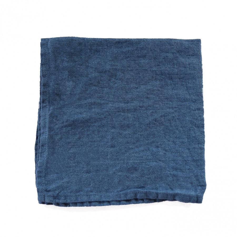 Serviette en 100% lin couleur bleu jeans 40 x 40 cm