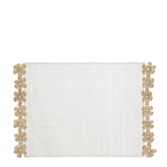 Placemat 2 sides wool flowers cream color 33 x 47 cm