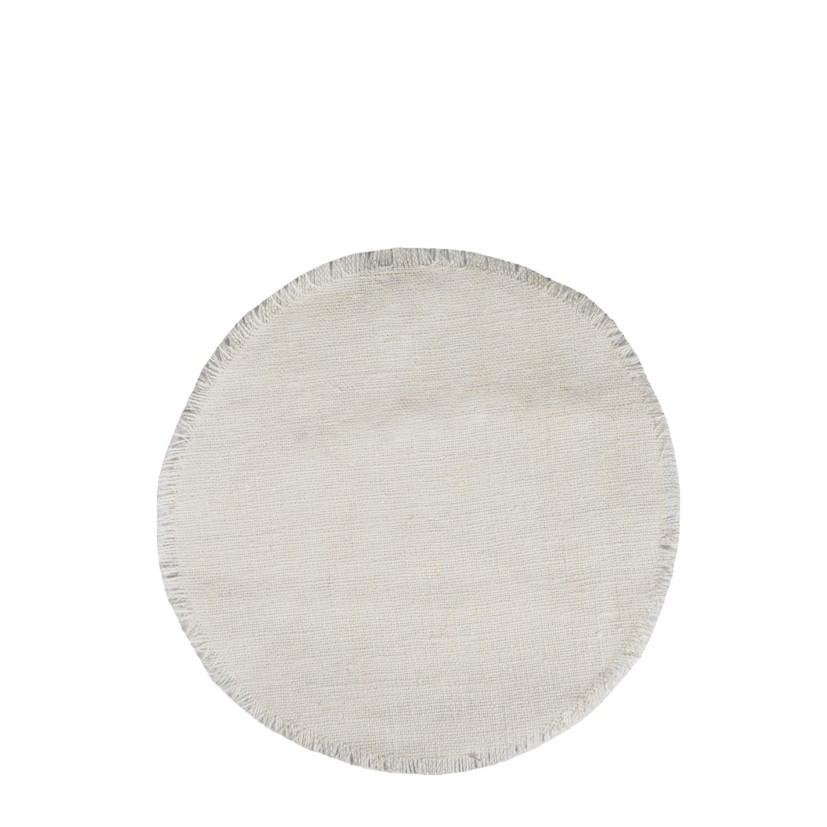 Round 100% raw linen underplate white