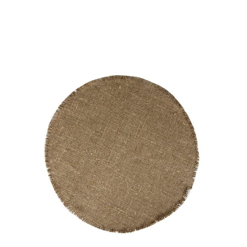 Round 100% raw linen underplate