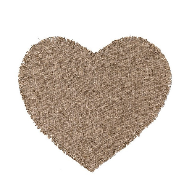 100% natural colour raw linen big heart underplate h35 cm