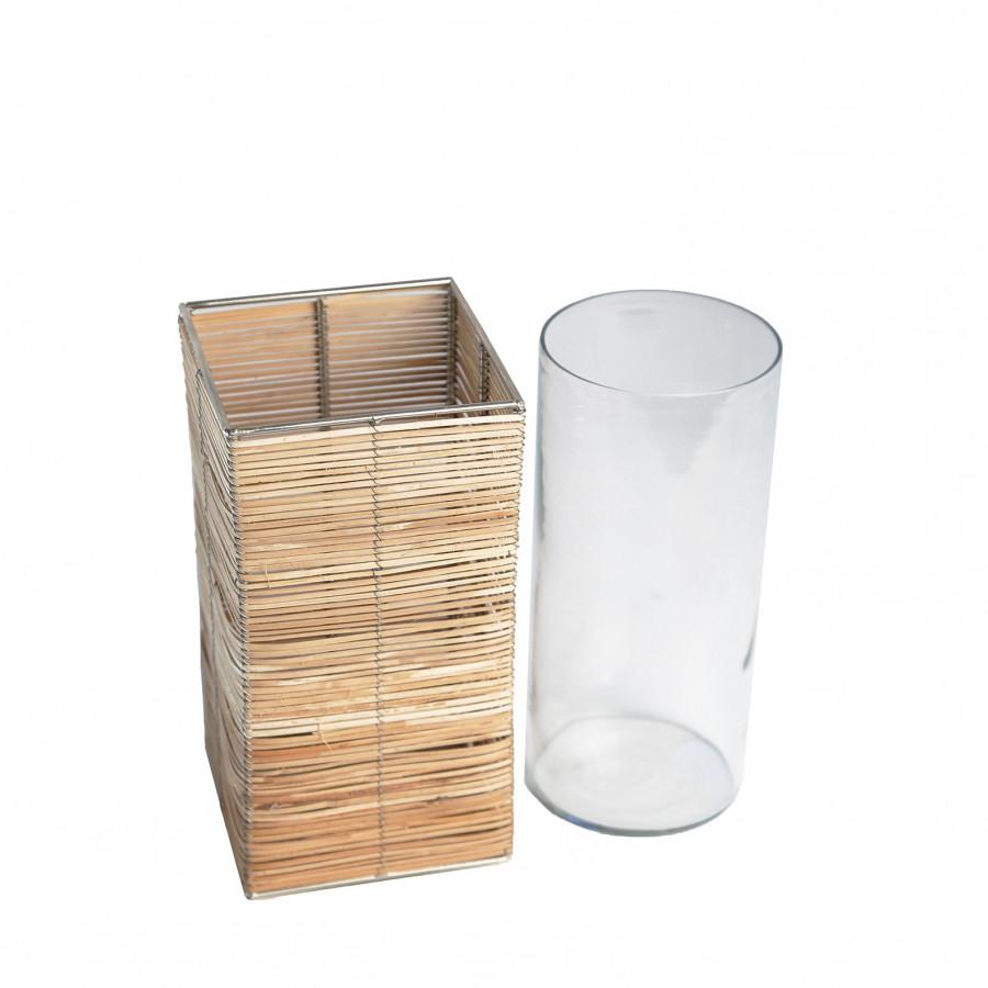 Parallelepipede en bois de bamboo avec verre 10 x 10 h20 cm