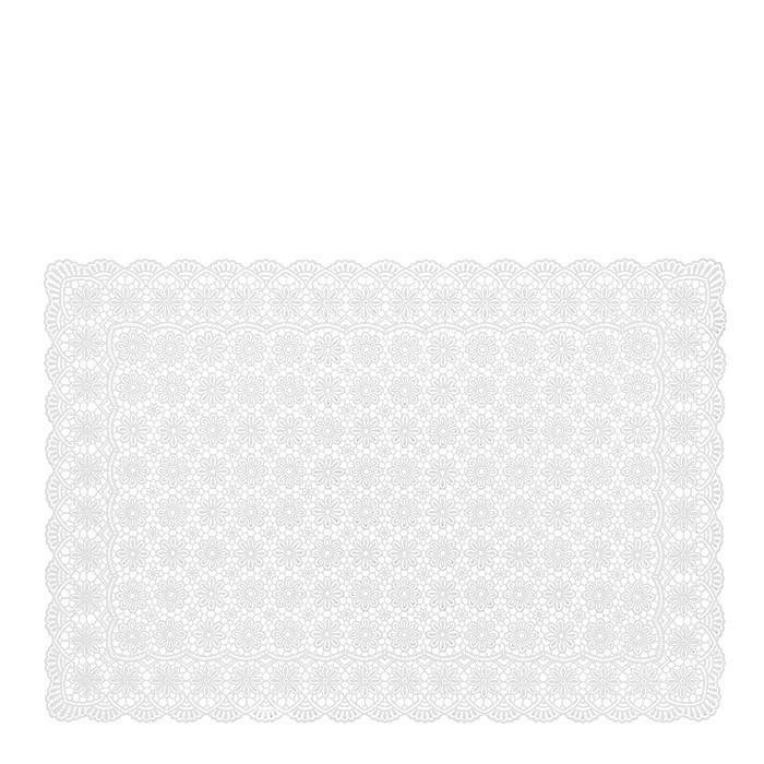 White vinyl waterproof soft placemat floral decoration 36 x 53 cm