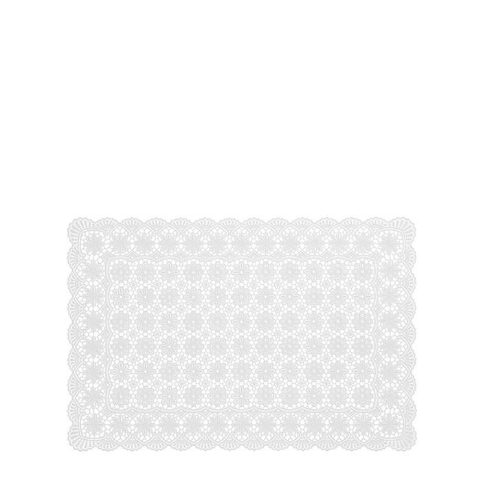 White vinyl waterproof full placemat flower decoration 30 x 46 cm