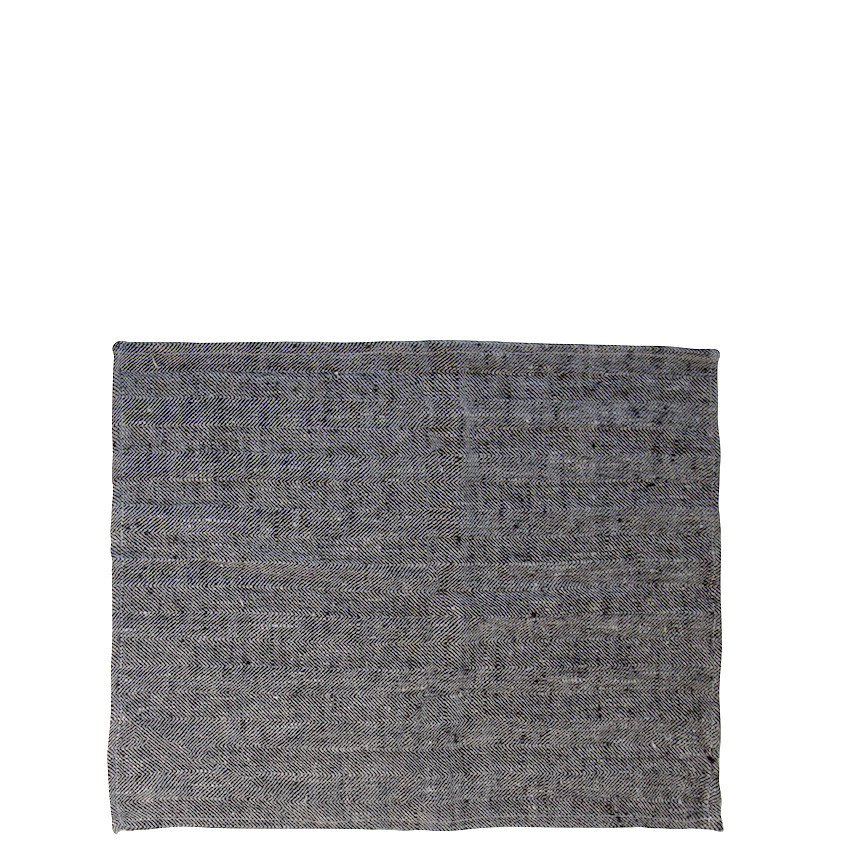 100% natural herringbone linen tablemat grey/black