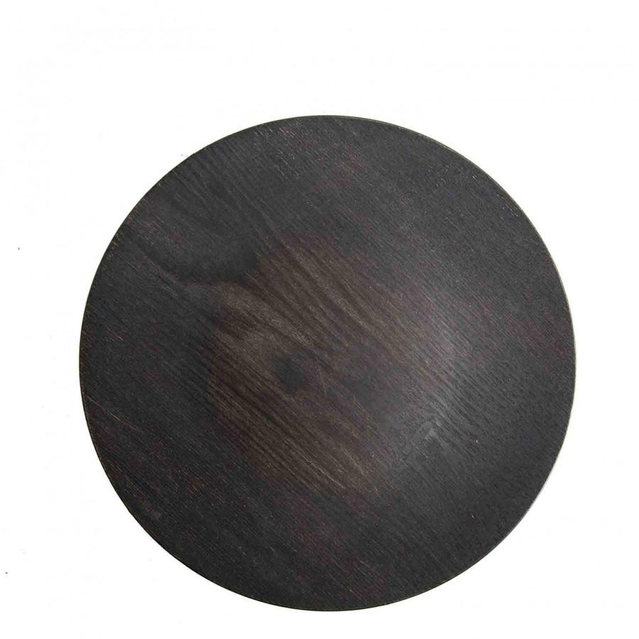 Sous-assiette en plastique noire effet bois d33 cm