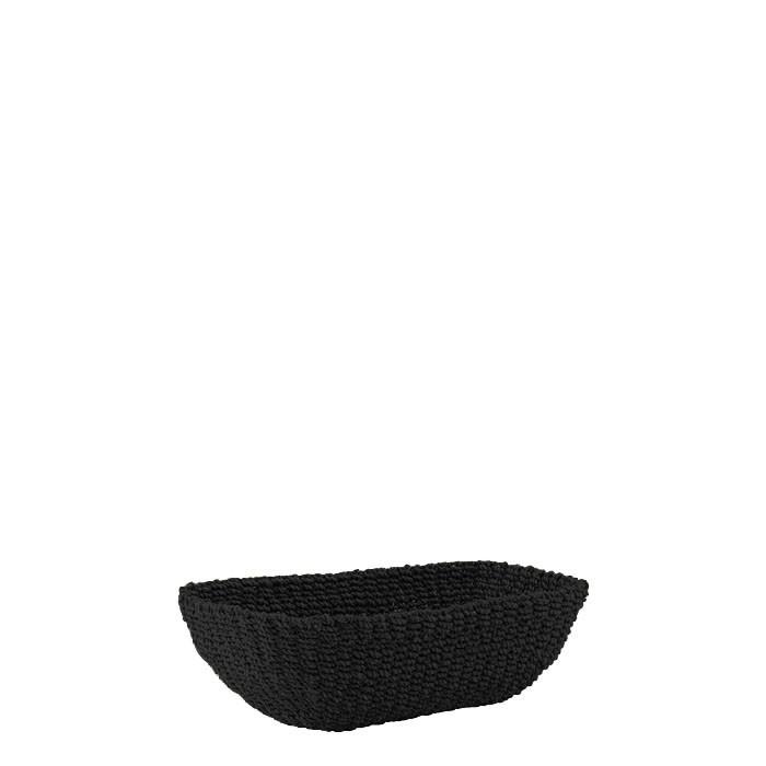 Panier en abaca ovale evase couleur noire 27 x 13 h8 cm