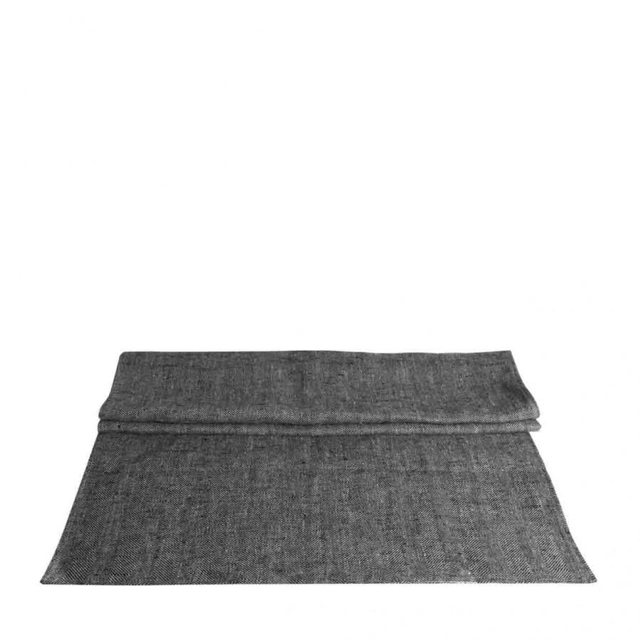 100% grey/black linen runner 50x120 cm