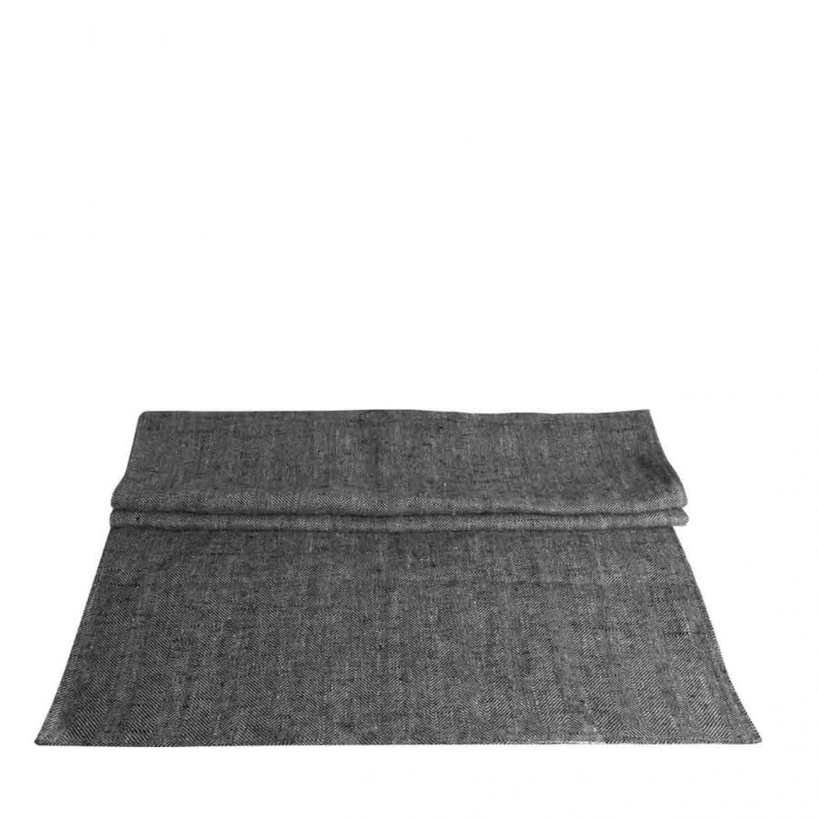 100% grey/black linen runner 50x160 cm