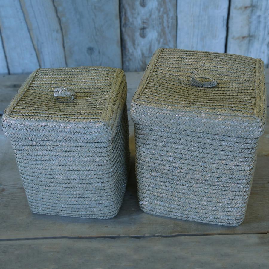 S/2 cesti intrecciati con coperchio color sabbia 22 x 22 h27 cm