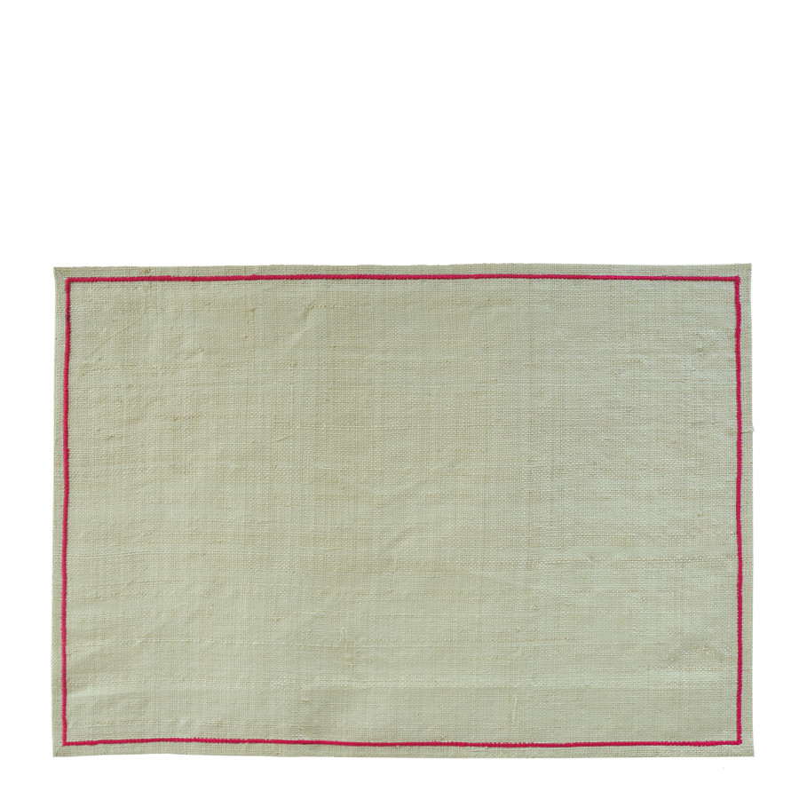 Raffia placemat with fuchsia edge 35 x 50 cm