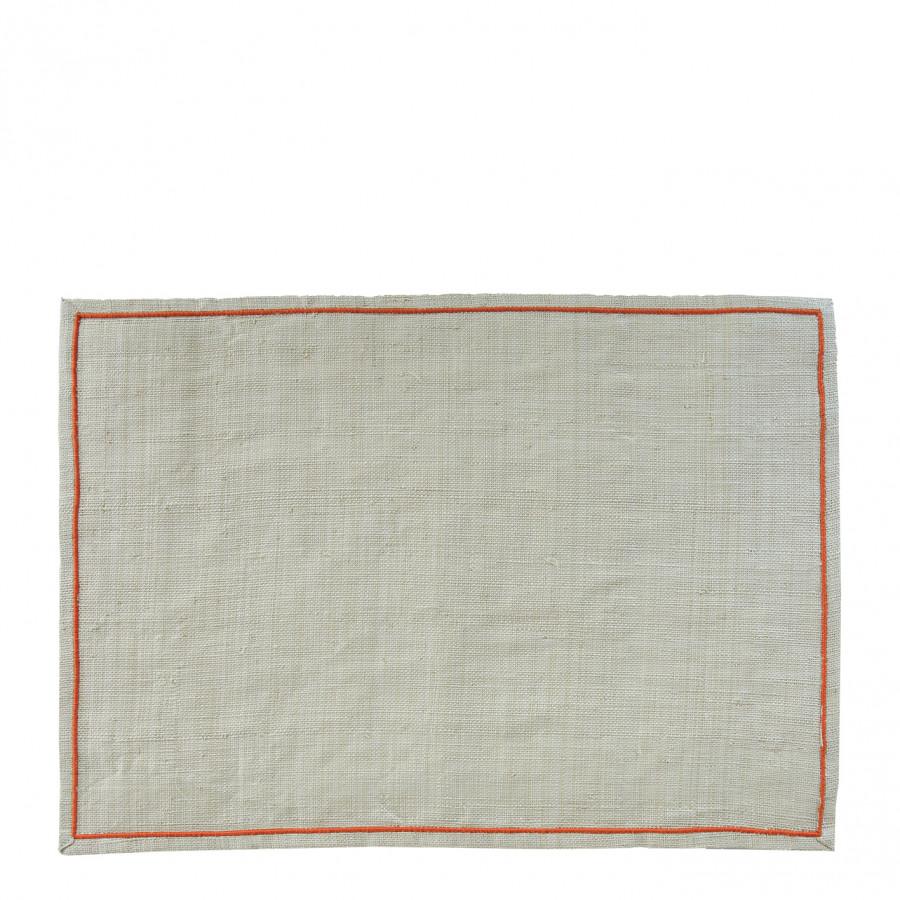Raffia placemat with orange edge 35 x 50 cm