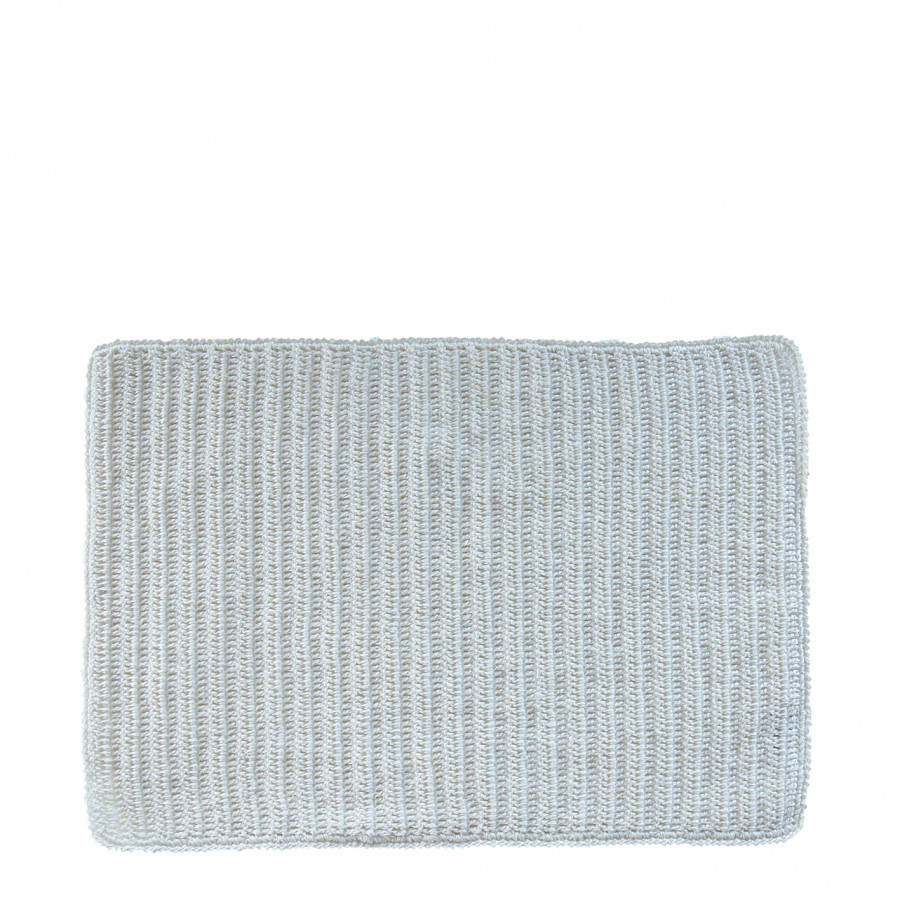 100%linen crochet placemat white color 33 x 49 cm
