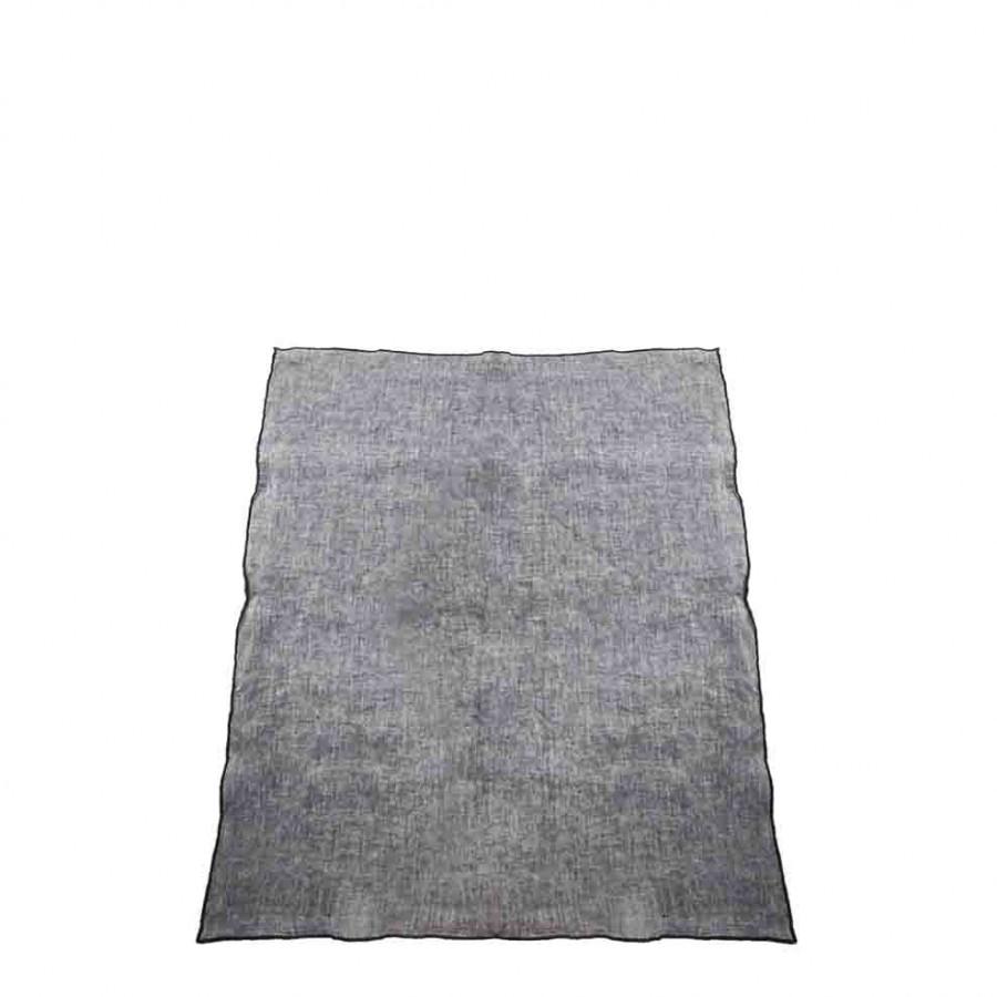 100% grey melange linen rag with black edge 50x70 cm