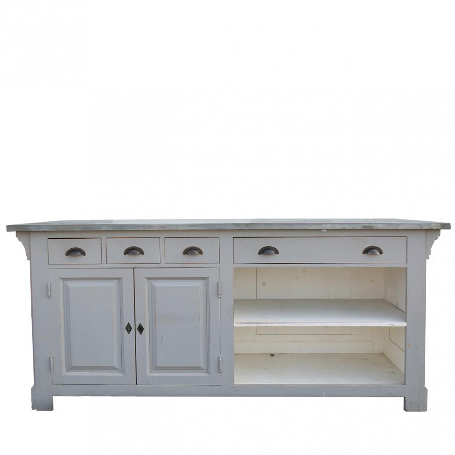 Bancone grigio piano in lamiera 4cassetti 2ante 68 x 191 h95 cm
