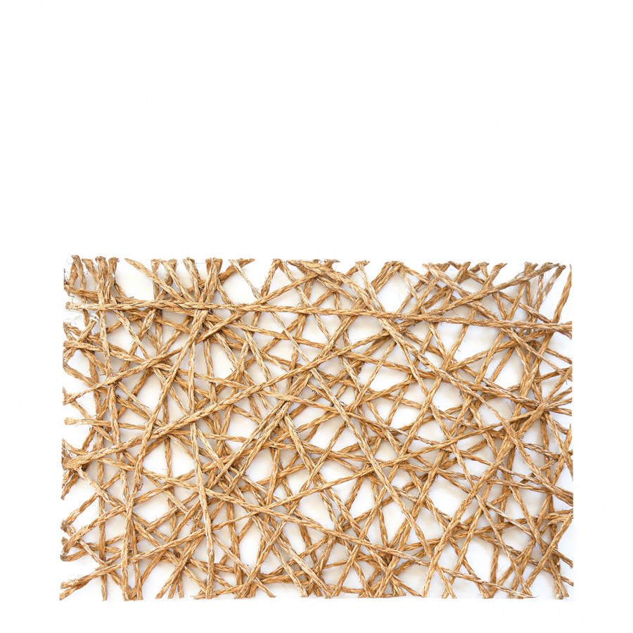 Thick golden abaca interwoven tablemat 45x30 cm